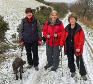 Prof Deborah White with friends on her sponsored walk