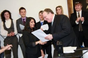 Yatisha receiving her certificate from Professor Wilson.