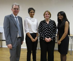 The Dental Contingent at the Sands Cox meeting: Prof Walmsley, Krishna Patel, Dr Hill and Yatisha Patel.