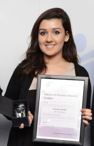 Hemani with her certificate