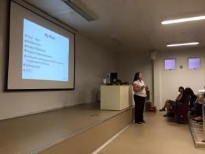 Kirsty gives her lecture in Rio